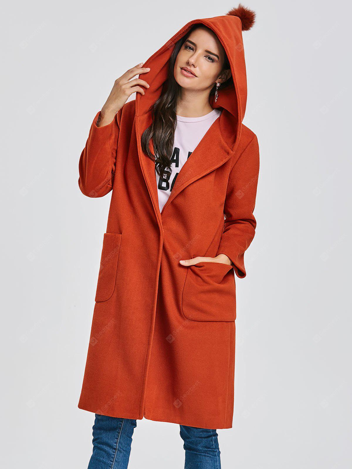 Hooded Longline Coat with Pocket