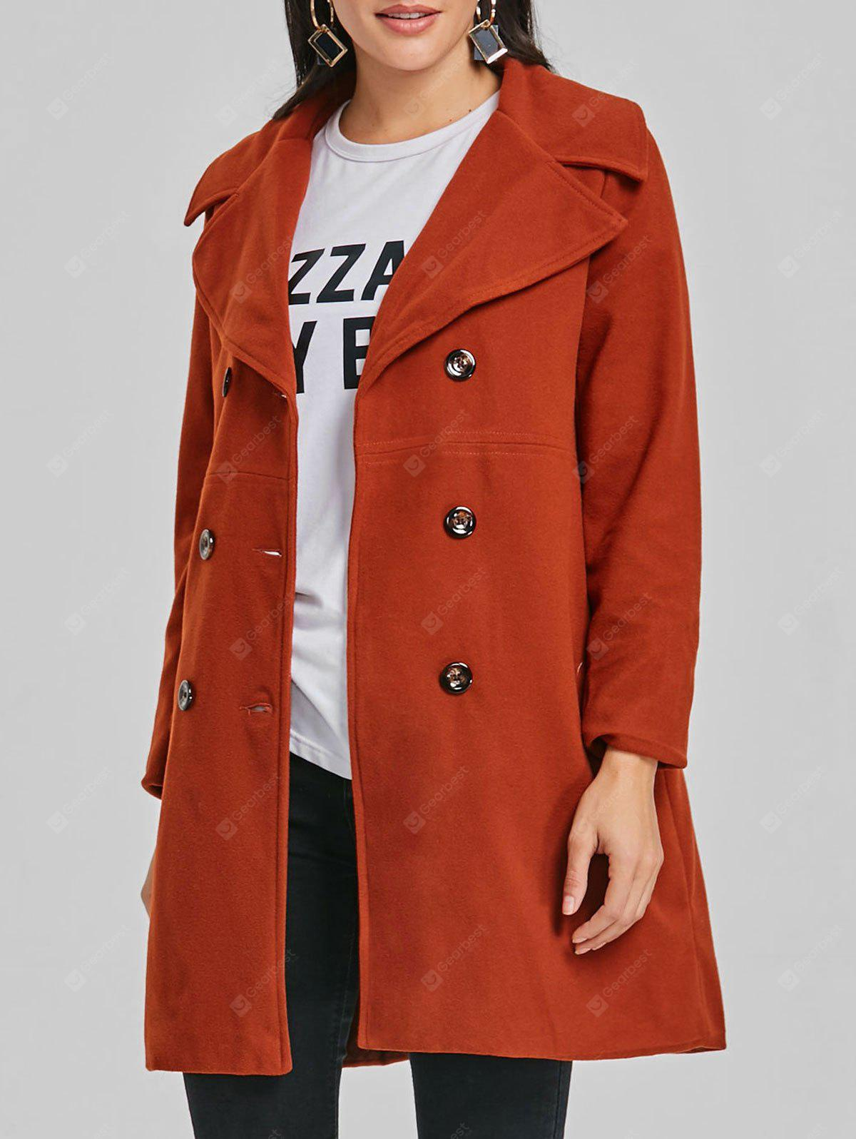 Double Breasted Lapel Neck Wool Coat