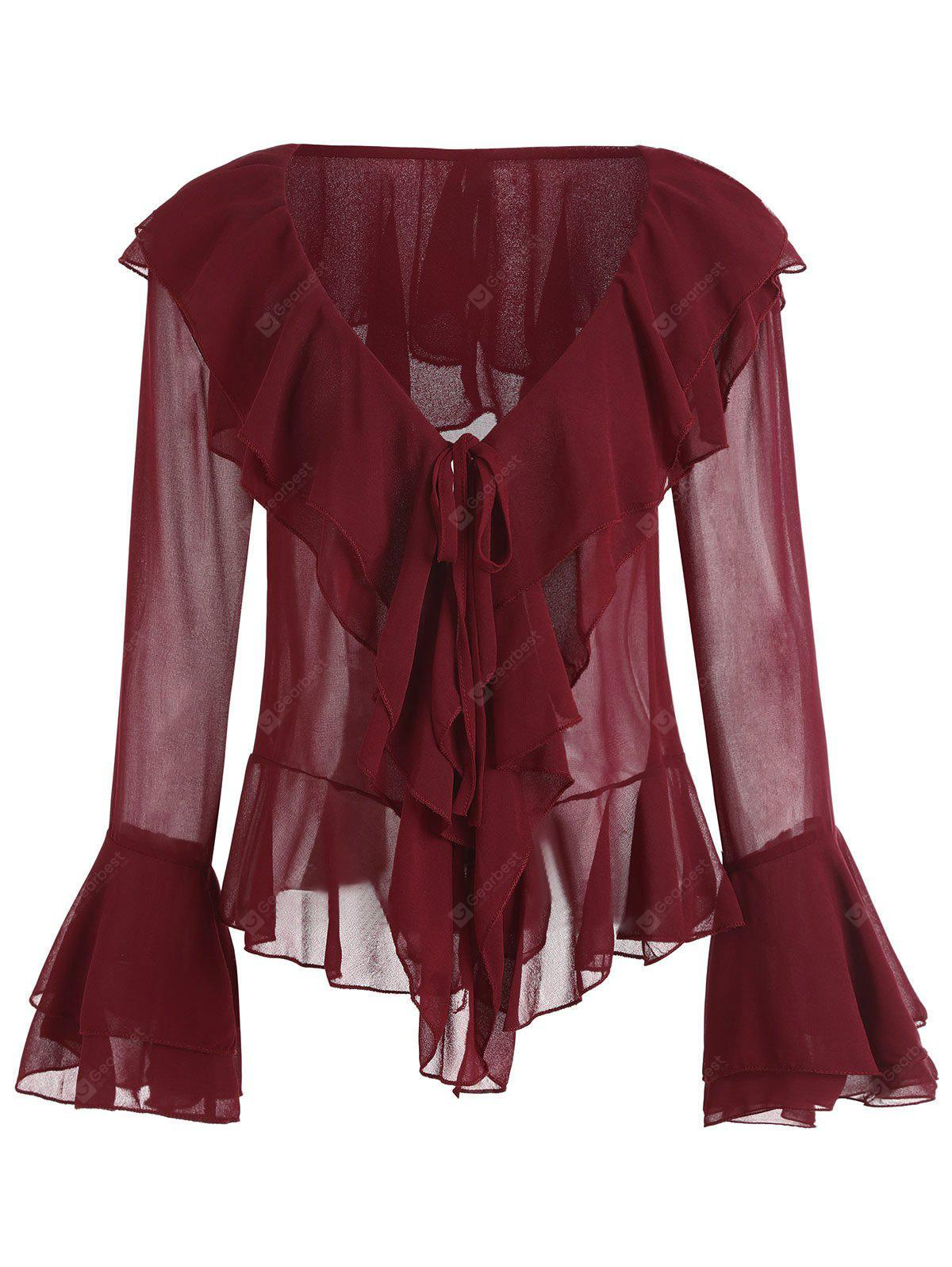 Layered Flare Sleeve Ruffles Plunge Blouse