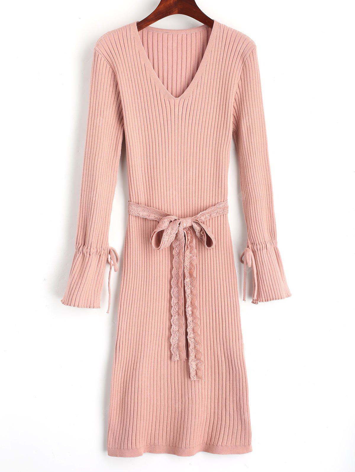 PINK Lace Belted Side Slit Sweater Dress