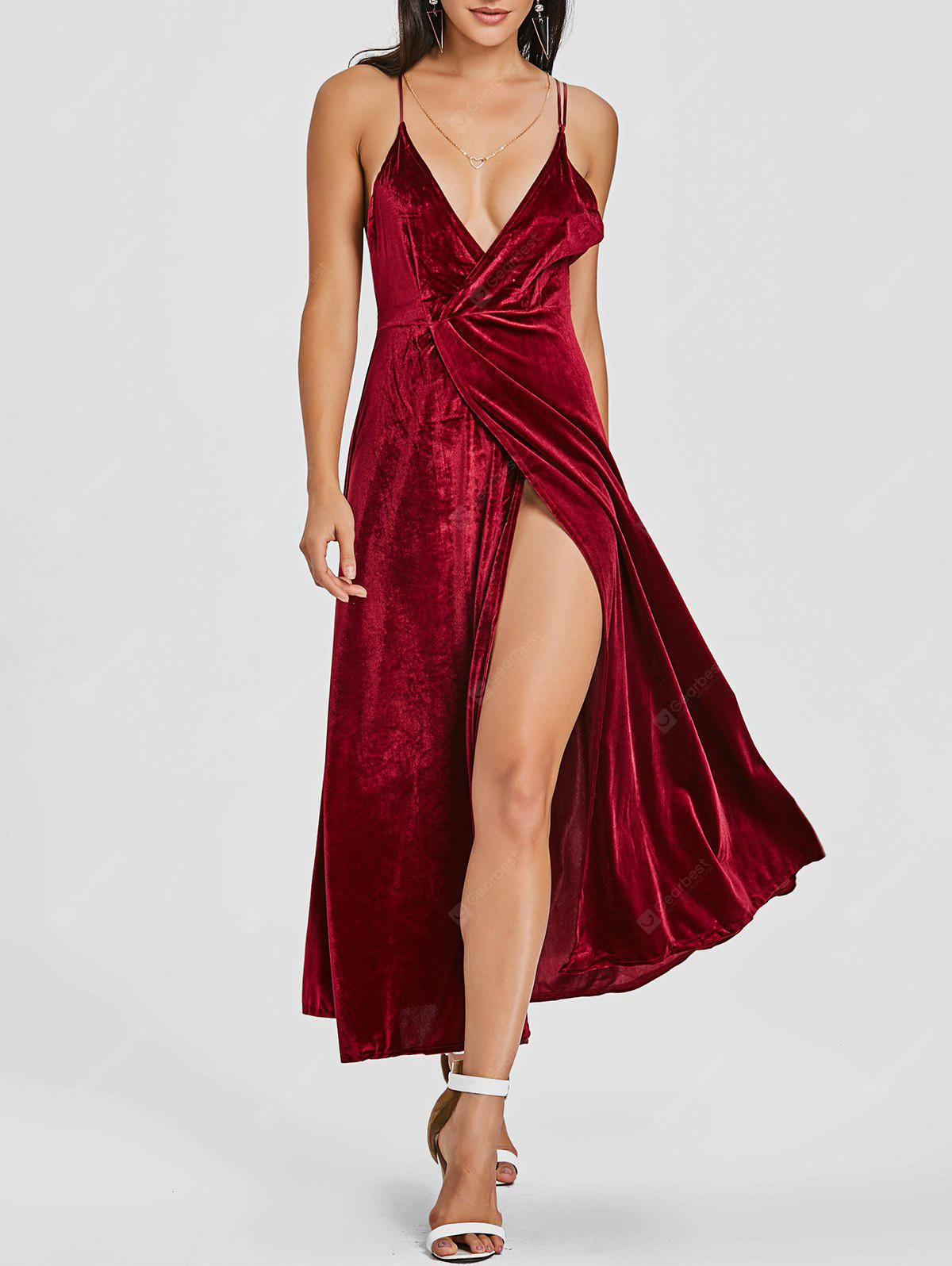 High Slit Backless Velvet Maxi Dress