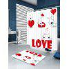 Valentine's Day Love Heart Puppies Pattern Shower Curtain - WHITE AND RED