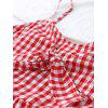 Bow Tied Plaid Tiered Mini Dress - RED