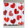 Checks and Heart Printed Valentine's Day Waterproof Shower Curtain - RED