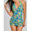 Halter Jungle Flowers Drucken Tankini Set - COLORMIX