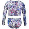 Snake Print Plus Size Long Sleeve Swimsuit - COLORMIX