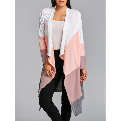 Asymmetric Color Block Open Front Cardigan