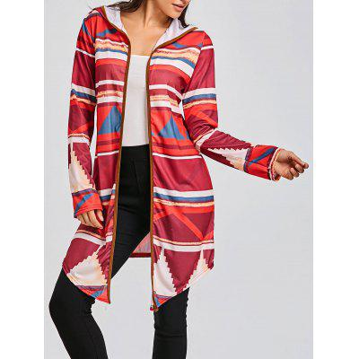 Geometric Print Color Block Hooded Cardigan