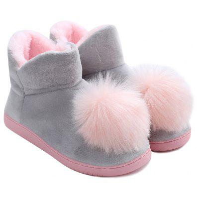 Color Block Pompoms Snow Boots
