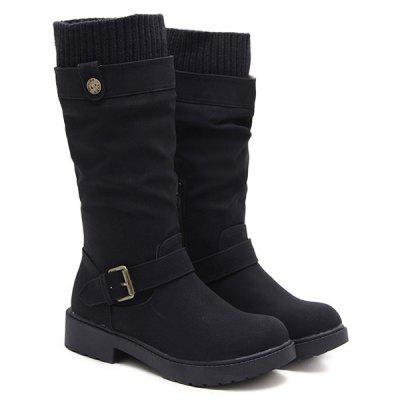 Low Heel Buckle Strap Stitching Mid Calf Boots