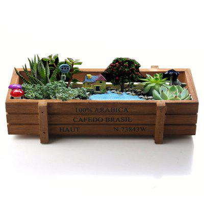 Succulent Plants Flowerpot Rectangular Planter Wood Storage Box