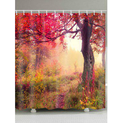 Maple Forest Path Print Waterproof Fabric Shower Curtain