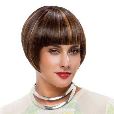 Short Colormix Full Bang Straight Bob Synthetic Wig