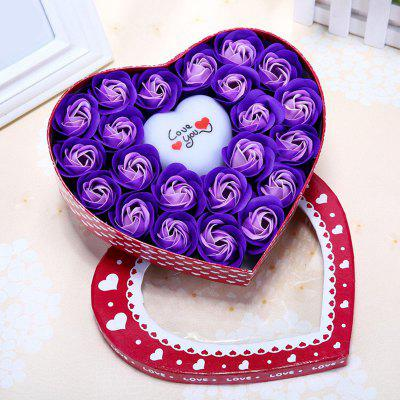 Led Flash Light Heart and Soap Roses in a Box Valentine's Day Gift