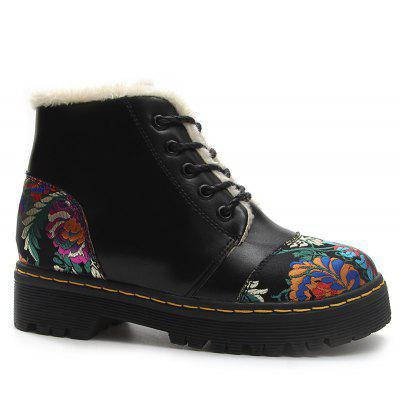 Platform Flower Embroidery Ankle Boots