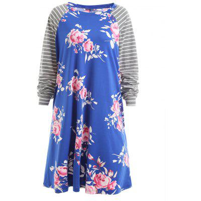 Plus Size Raglan Sleeve Striped Floral Dress