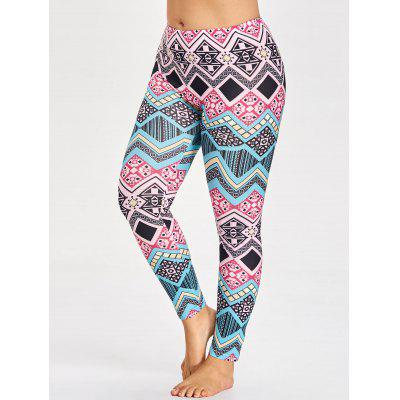 Plus Size Tribal Pattern Leggings for Yoga