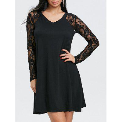 Floral Lace Panel V Neck Tunic Dress