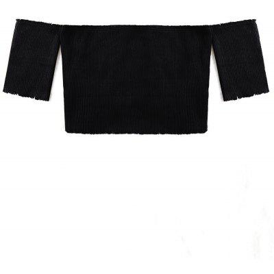 Raw Edge Short Sleeve Cropped Ribbed Knitwear