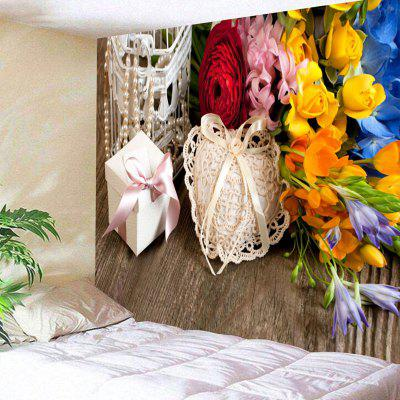 Flowers and Gift Print Wall Hanging Tapestry