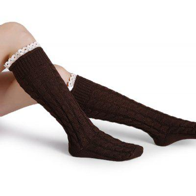 Simple Lace Brim Embellished Crochet Knitted Stockings