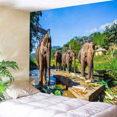 Thailand's Elephants Print Wall Hanging Tapestry