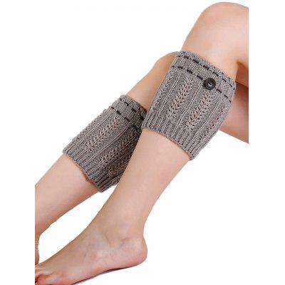 Cute Button Embellished Knitted Leg Warmers