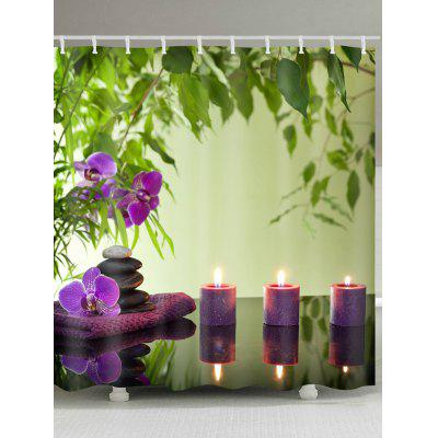 Flower Candles Print Waterproof Fabric Shower Curtain