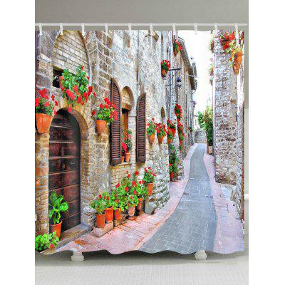 Brick House Alley Print Waterproof Fabric Shower Curtain
