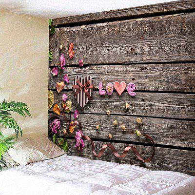Valentine's Day Gift Box Wood Grain Love Print Wall Tapestry