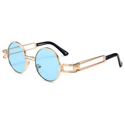 Punk Style Hollow Out Metal Frame Decorated Round Sunglasses - $9.03 ...