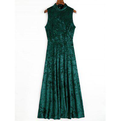 Buy BLACKISH GREEN M Open Back High Slit Velvet Long Dress for $25.27 in GearBest store