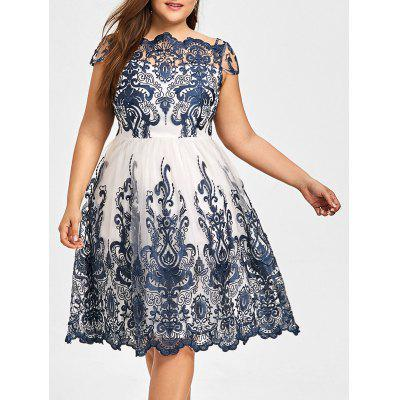 Plus Size Boat Neck Party Dress
