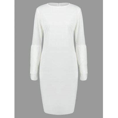 Round Neck Petal Sleeve Fitted Dress