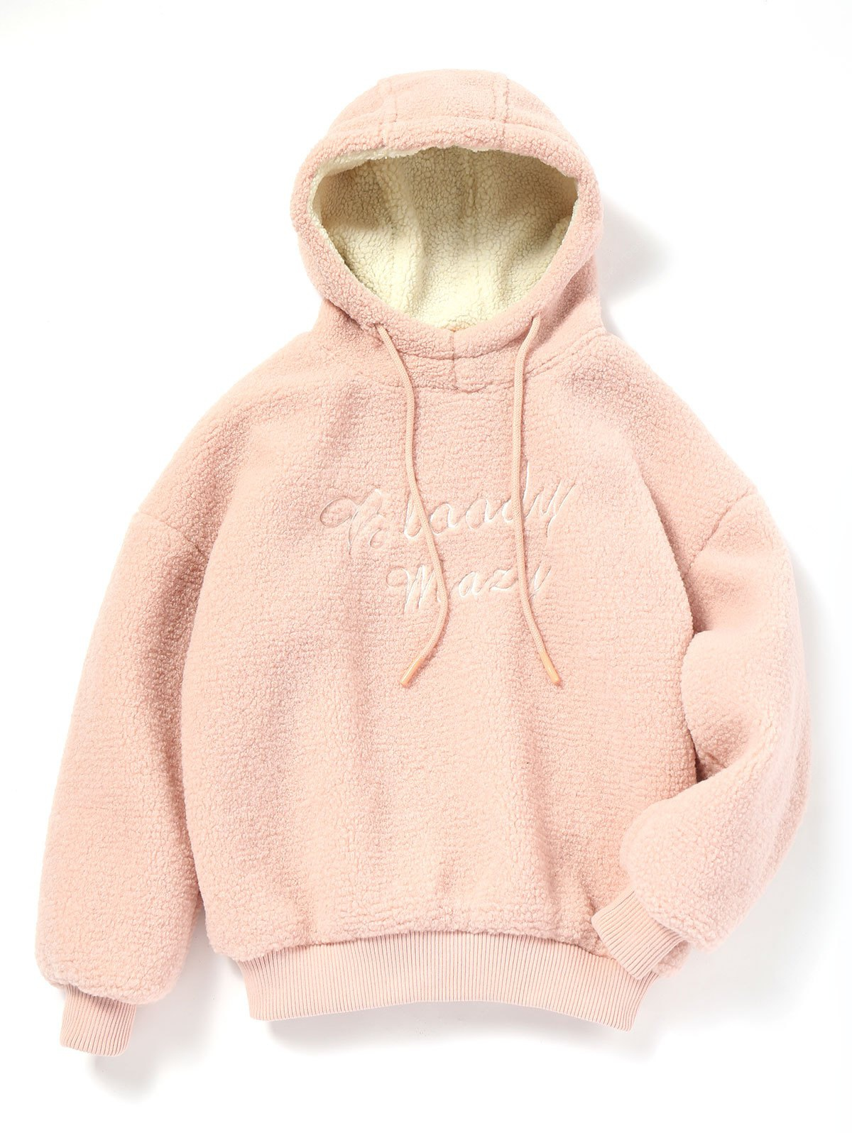 Letter Embroidered Shearling Textured Hoodie