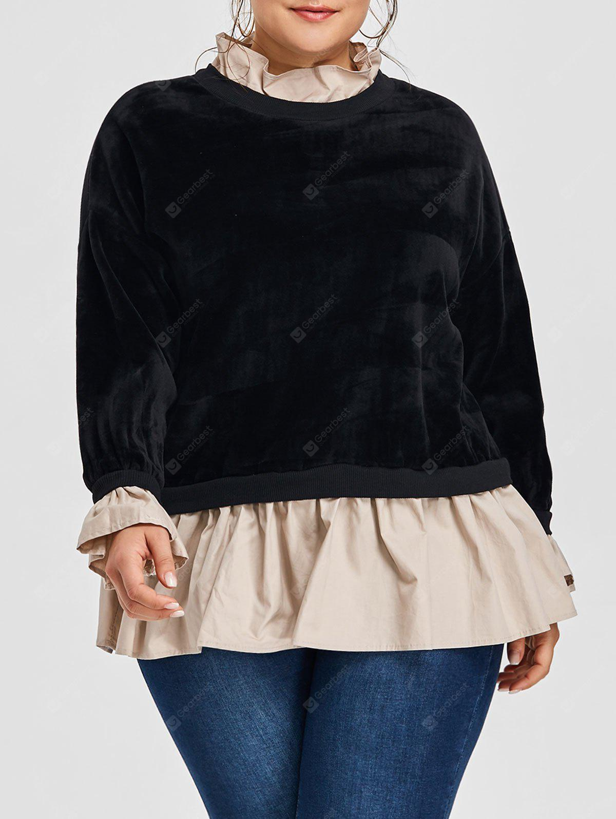 Plus Size Flocking Velvet Drop Waist Sweatshirt