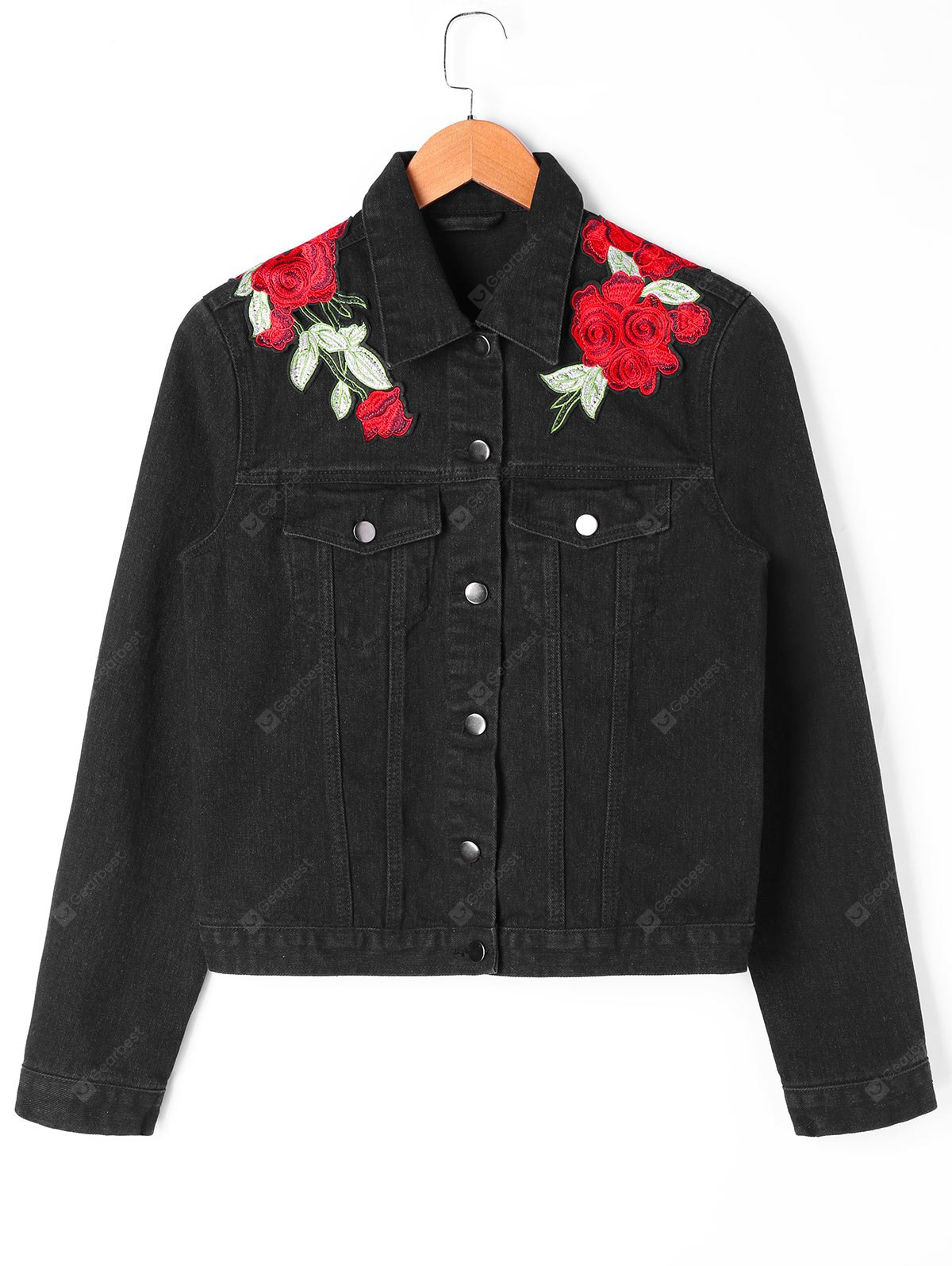 Flower Embroidered Shirt Jacket with Flap Pockets
