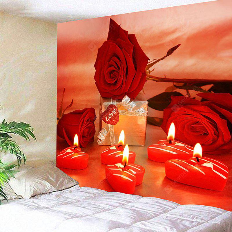 Valentine's Day Gift Roses Heart Candles Pattern Wall Tapestry