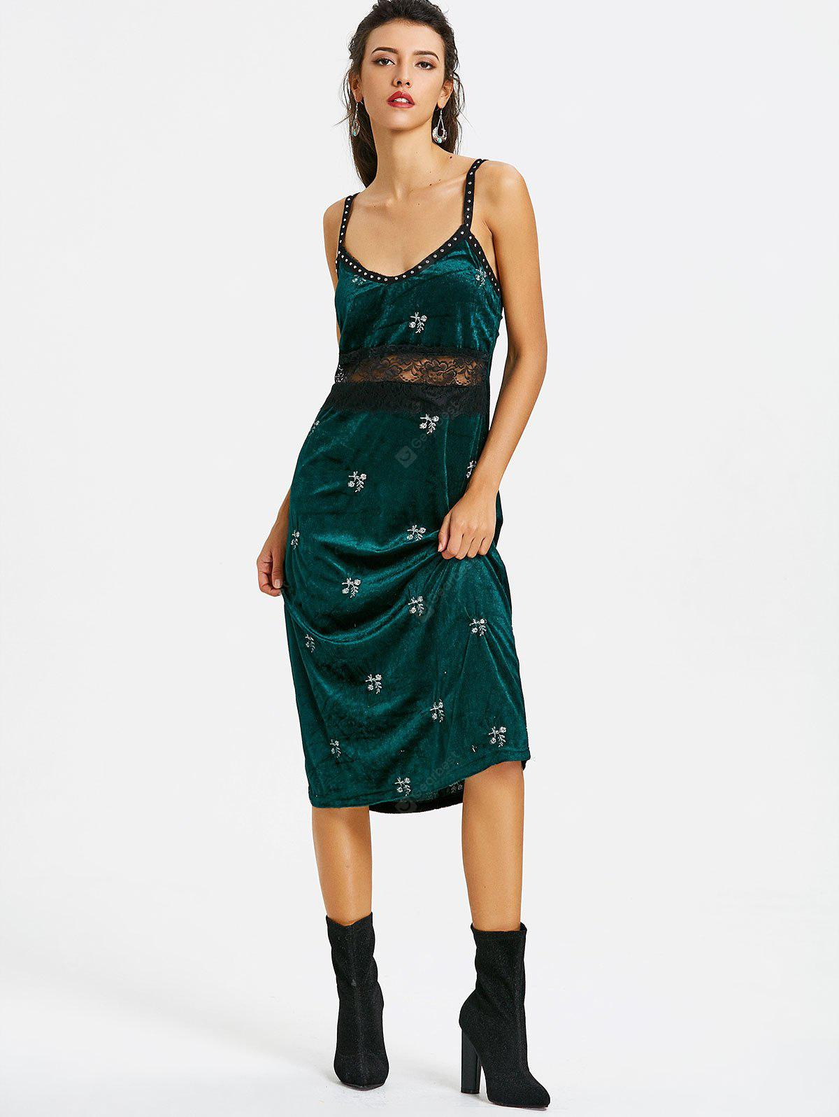 Embroidered Velvet Studded Pinafore Dress