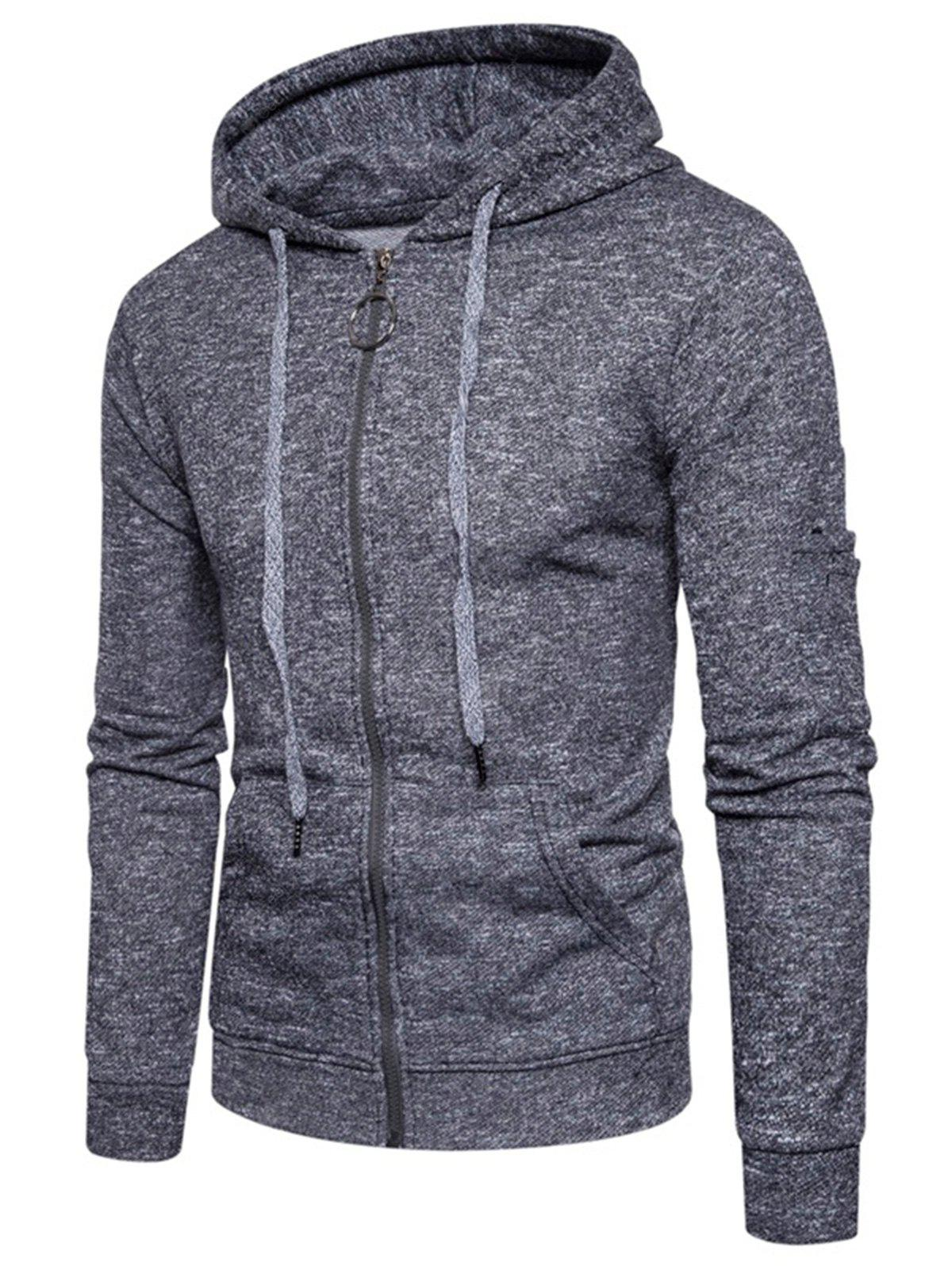 Pouch Pocket Cotton Blends Zip Up Hoodie