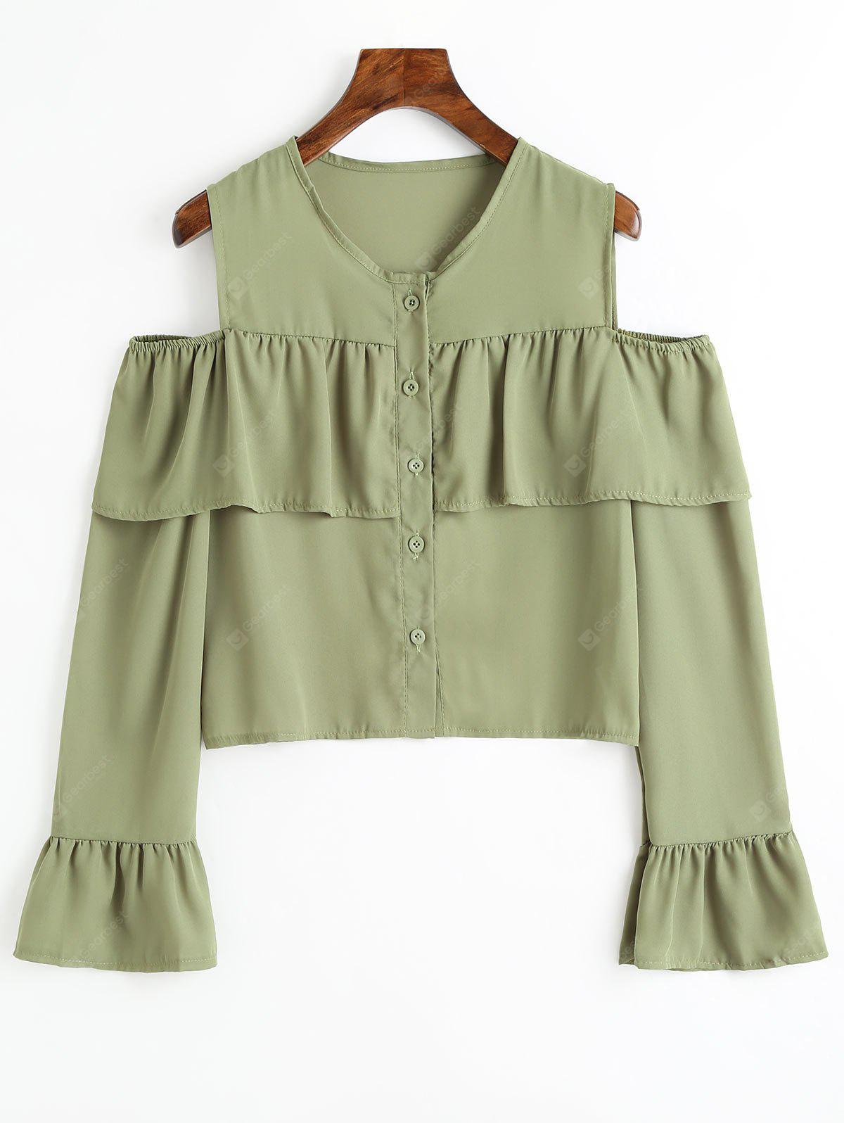 Cold Shoulder Bell Sleeve Flounce Chiffon Blouse