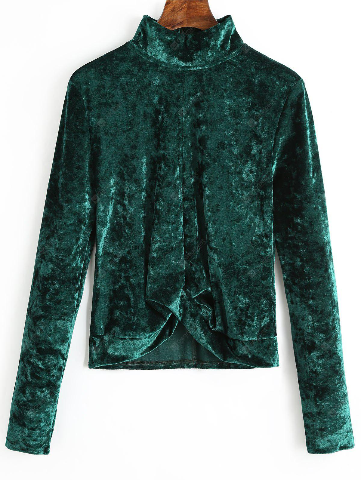 Mock Neck Gathered Velvet Blouse