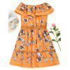 Off Shoulder Hollow Out Flounce Flower Dress - ORANGE