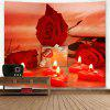 Valentine's Day Gift Roses Heart Candles Pattern Wall Tapestry - RED