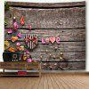Valentine's Day Gift Box Wood Grain Love Print Wall Tapestry - WOOD COLOR