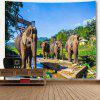 Thailand's Elephants Print Wall Hanging Tapestry - COLORMIX
