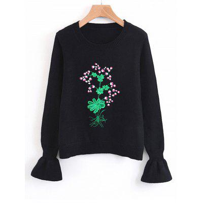 Floral Embroidered Flouncy Sleeve Sweater
