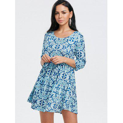 Floral Print Scoop Neck Mini DressWomens Dresses<br>Floral Print Scoop Neck Mini Dress<br><br>Dresses Length: Mini<br>Material: Polyester<br>Neckline: Scoop Neck<br>Package Contents: 1 x Dress<br>Pattern Type: Floral<br>Season: Fall, Spring<br>Silhouette: A-Line<br>Sleeve Length: 3/4 Length Sleeves<br>Style: Casual<br>Weight: 0.3200kg<br>With Belt: No