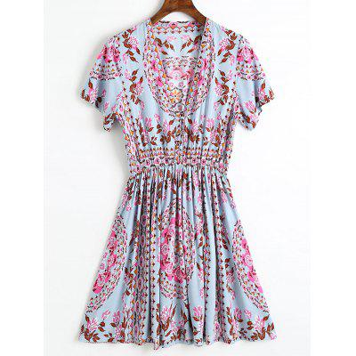 Printed Half Buttoned Mini Dress