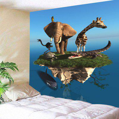Floating Island Animal Print Wall Hanging Tapestry